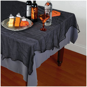 Black Cheesecloth Tablecloth- 84in