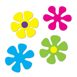 Retro Flowers Cutout - 4ct