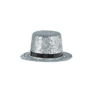 Silver Glitter Mini Top Hat- 2in