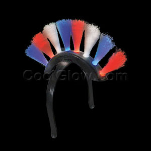 LED Fiber Optic Mohawk - Red-White-Blue
