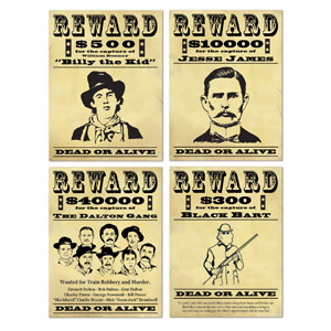 Wanted Sign Cutouts- 4pc