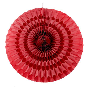 Solid Red Paper Fan - 6 ct - 20 Inch