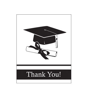 Grad Thank You Card - White