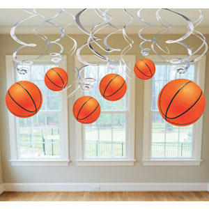 Basketball Swirl Decorations- 12ct