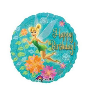 Tinkerbell Birthday Flowers Balloon- 18 Inch