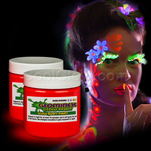Glominex Glow Body Paint 4oz Jar - Red