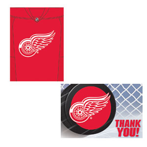 Detroit Red Wings Invitation and Thank You Card Set- 16ct
