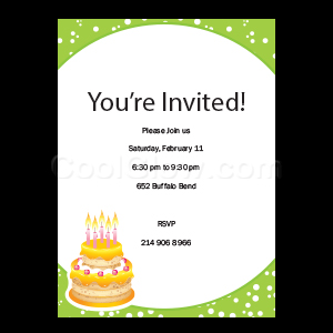 Green Cake - Custom Invitations