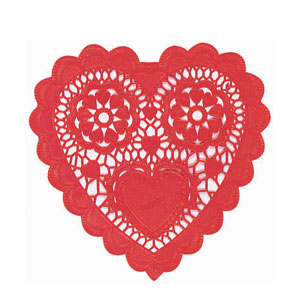 Red Heart-Shaped Doilies