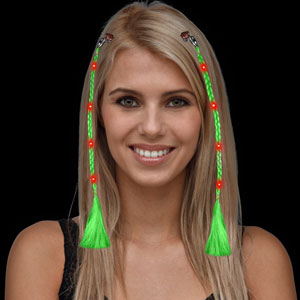 LED Braided Hair Extensions - Green