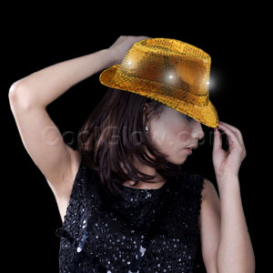 LED Sequin Fedora - Gold