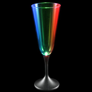 LED Champagne Glass Black Stem - 7.5 oz.