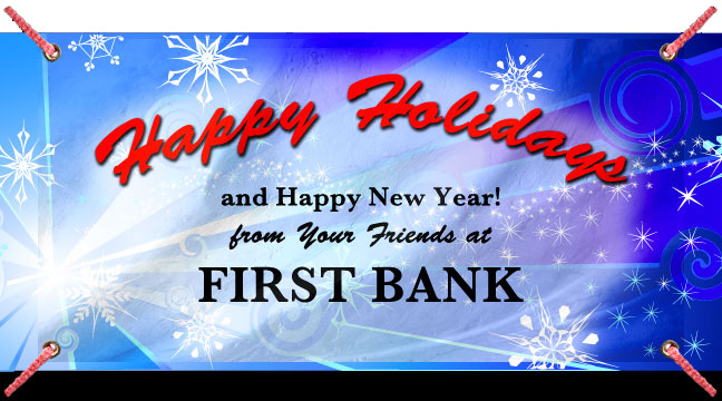 Dark Blue Snow Burst 'Happy Holidays'- Custom Banner