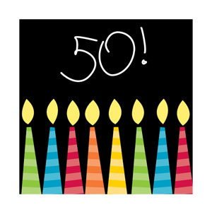 50 Candles Beverage Napkins - 16ct