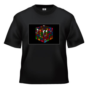 LED Sound Activated T-Shirt -Rubiks Cube