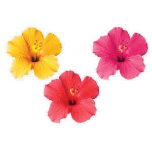 Tropical Flower Photographic Cutouts- 3ct