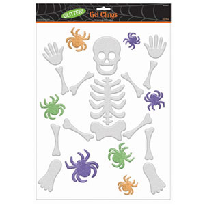 Glitter Large Skeleton Gel Clings- 22ct