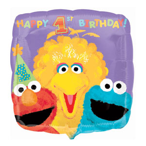 Sesame Street 1st Birthday Balloon - Metallic