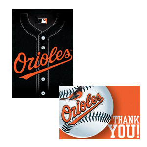 Baltimore Orioles Invitation and Thank You Cards Set- 16ct
