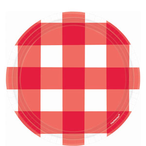 American Red Gingham 7 inch Plates - 8ct