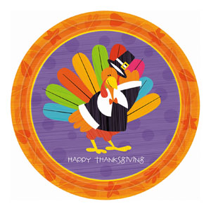 Fun Turkey 9 Inch Plates- 8ct