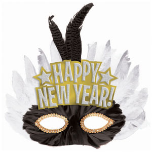 New Years Feather Mask- 9 Inch