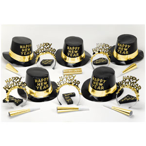 Black-Gold New Years Party Kit for 10- 38pc