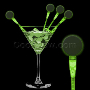 LED Circle Cocktail Stirrers - Green