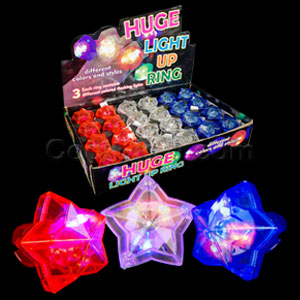 Fun Central AC696 LED Light Up Star Gem Rings - Assorted