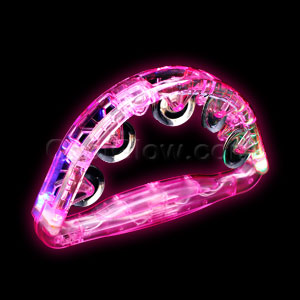 Fun Central G702 LED Light Up Tambourine 8 Inch - Pink