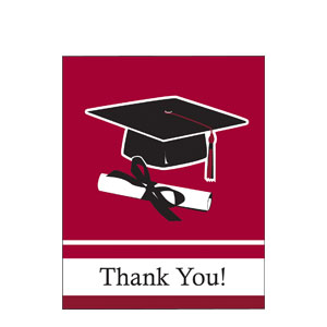 Maroon Grad Thank You Card