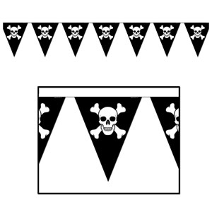 Jolly Roger Pennant Banner - 12ft