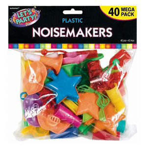 Colorful Plastic Noisemakers- 40ct
