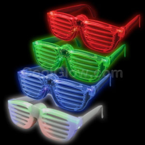 LED Rock Star Shutter Slotted Shades - Assorted