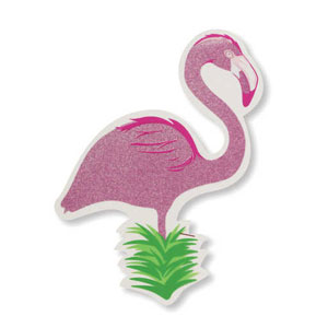 Flamingo Plastic Glitter Cutout- 12in