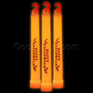 6 Inch Premium Happy Halloween Glow Sticks - Orange