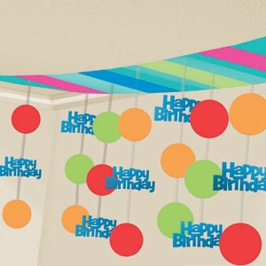 Happy Birthday Dots and Stripes Ceiling Decoration- 12ft