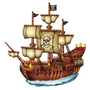 Jointed Pirate Ship Cutout - 31in