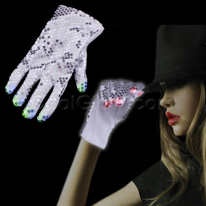 Fun Central A18 LED Light Up Sequin Rockstar Glove - Right Hand