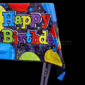 Birthday Balloons Plastic Tablecover
