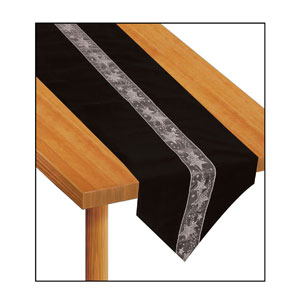 Black and Silver Fabric Table Runner - 6ft