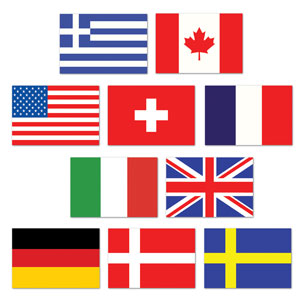 Mini International Flag Cutouts- 10ct