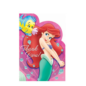 Disney Little Mermaid Thank You Cards- 8ct