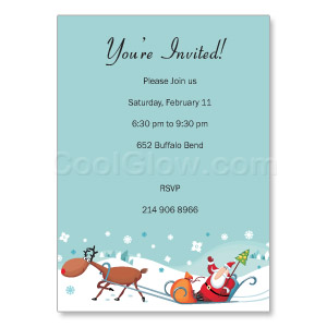 Santa Sleigh - Custom Invitations