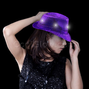 LED Sequin Fedora - Purple
