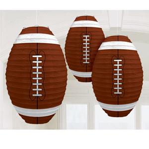 Football-Shaped Paper Lanterns- 3ct