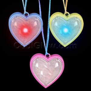 LED Flashing Heart Necklaces - Assorted
