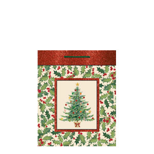 Wonderful Season Large Glitter Gift Bag- 12 Inch