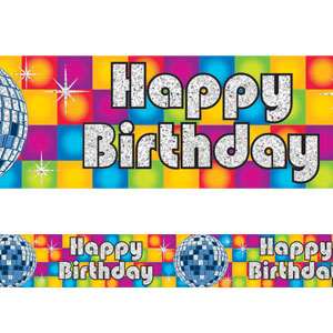 Disco Happy Birthday Prismatic Banner- 12ft