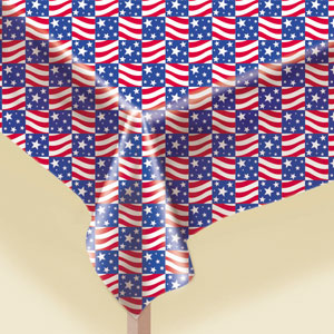 Patriotic Flannel-Backed Vinyl Tablecover- 70in